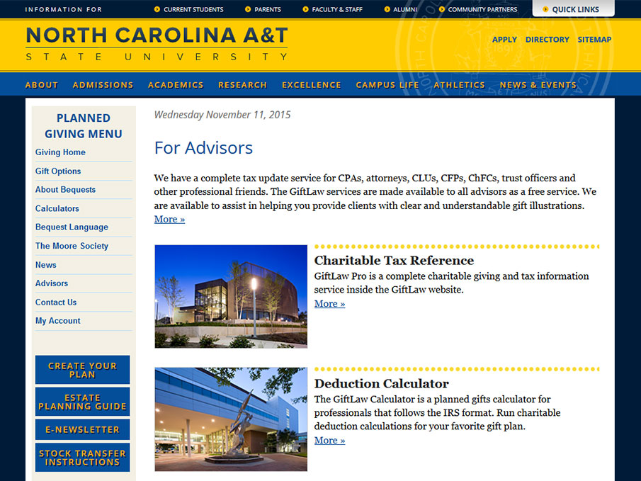 N. Carolina A&T State University (Main Advisors Page)